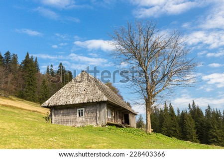 Nature rustic wooden hous in a Carpathian mountains. - stock photo