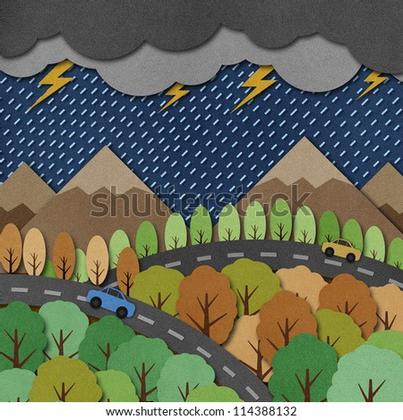Nature view recycled papercraft Background - stock photo