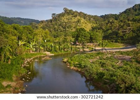 Nature view travelling along the ecuadorian coast through the province of Manabi, Ecuador - stock photo
