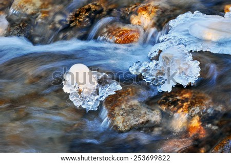 Nature, winter river flow ice. - stock photo