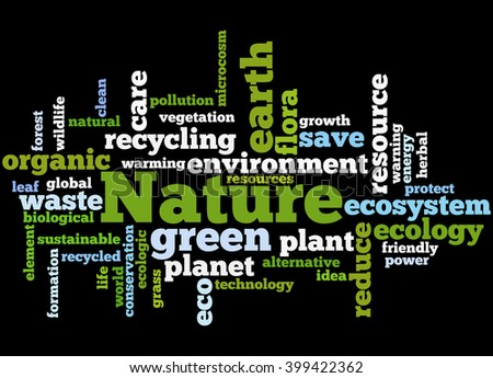 Nature, word cloud concept on black background.  - stock photo
