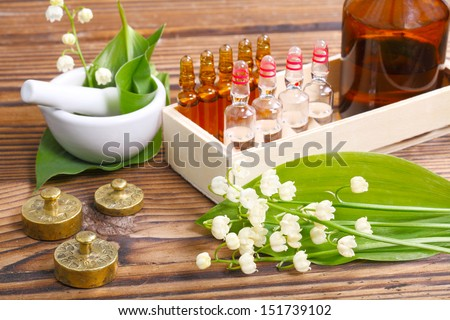 Naturopathy, ampules - stock photo