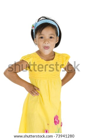 naughty girl sticking out her tongue, isolated on white background - stock photo