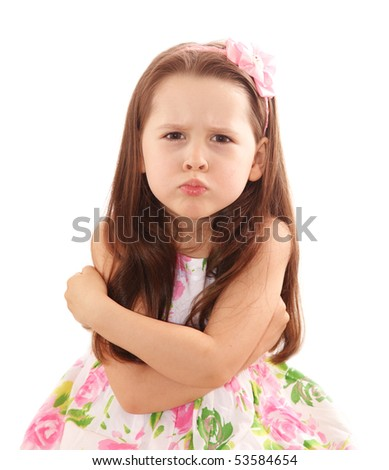 Naughty little girl over the white background - stock photo