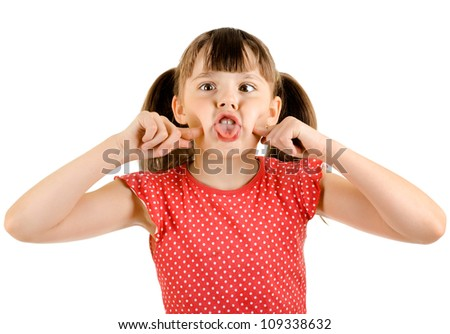 naughty  little girl , play the fool, on white background, isolated