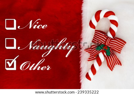 Naughty, Nice or Other,  A plush red stocking with a Candy Cane and words Nice, Naughty and Other - stock photo