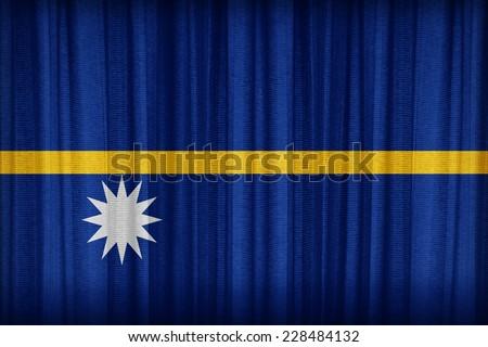 Nauru flag pattern on the fabric curtain,vintage style - stock photo