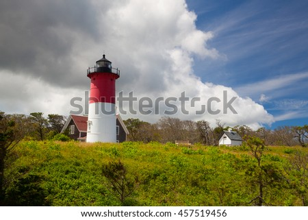 Nauset Light Lighthouse in Eastham, Cape Cod, Maine, New England, USA - stock photo