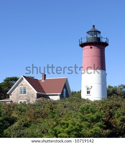 Nauset Lighthouse on Cape Cod Vertical - stock photo
