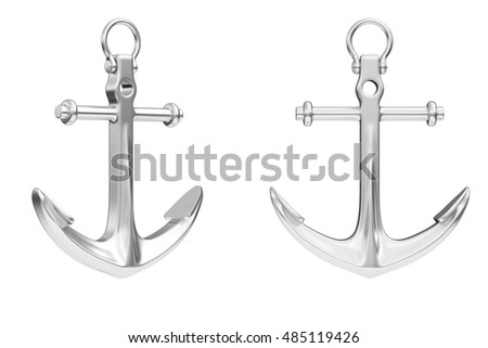 Nautical Anchor on a white background. 3d Rendering