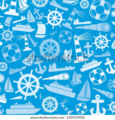 nautical and marine icons background (marine icons abstract texture, nautical icons) - stock photo