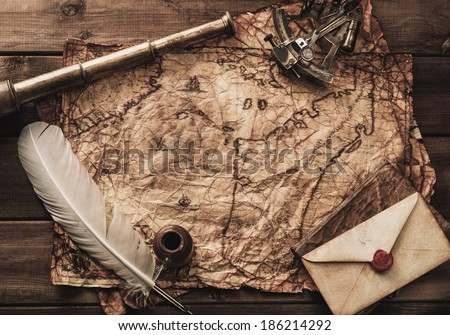 Nautical objects on a vintage map  - stock photo