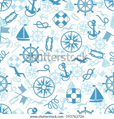 Nautical or marine themed seamless pattern with anchors  life buoys  ropes  knots  compass  yacht  semaphore flags  seagulls and vintage ships wheels in square format suitable for wallpaper and fabric - stock photo