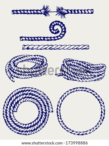 Nautical rope knots. Doodle style. Raster version - stock photo