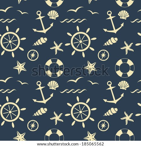 nautical seamless pattern raster version - stock photo