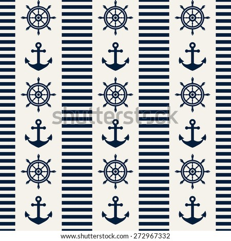Nautical seamless pattern with steering wheels and anchors. Raster background. - stock photo