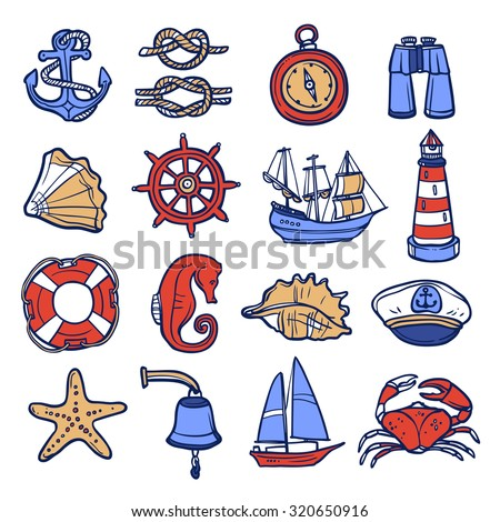 Nautical sketch decorative icon set with anchor rope compass binoculars isolated  illustration - stock photo