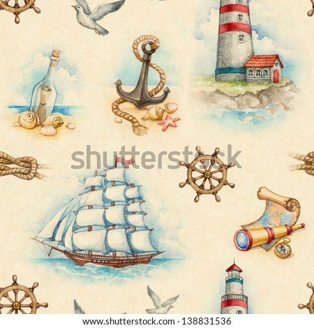 Nautical watercolor seamless pattern - stock photo
