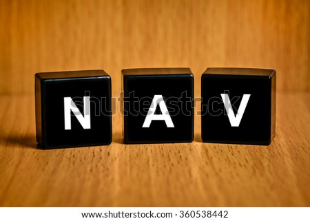 NAV or Net asset value text on black block - stock photo