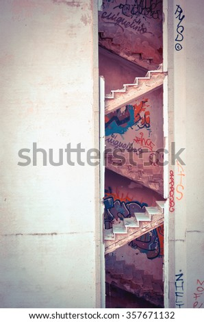 NAVACERRADA, MADRID, SPAIN - DECEMBER 29, 2015: Decayed stairs in an abandoned hospital. Urban decay - stock photo