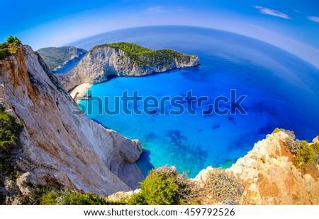 Navagio Bay Zakynthos. Shipwreck beach view from above. Fisheye panoramic shot, HDR effect - stock photo