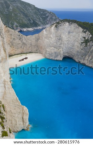 Navagio beach in Zakynthos island, Greece  - stock photo