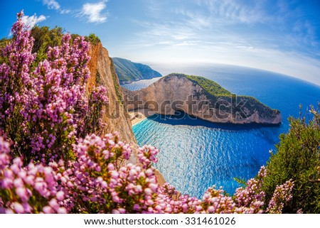Navagio beach with shipwreck and flowers against sunset, Zakynthos island, Greece
