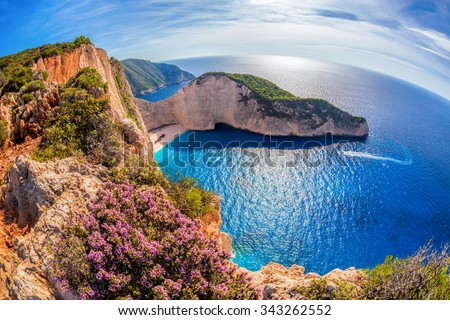Navagio beach with shipwreck and flowers on Zakynthos island in Greece - stock photo