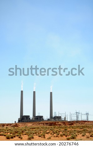 Navajo Generating Station in Page, Arizona, is a coal-fired power plant, with three chimneys that are the tallest structures in Arizona