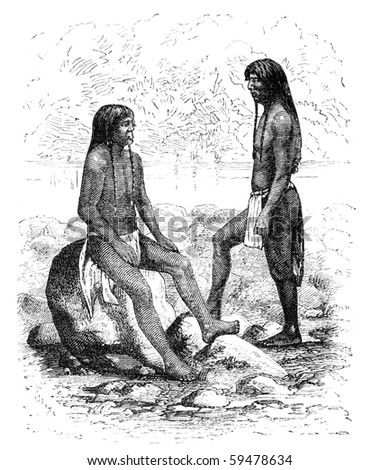 "Navajo native americans in Arizona. Illustration originally published in Ernst von Hesse-Wartegg's ""Nord Amerika"", swedish edition published in 1880. - stock photo"