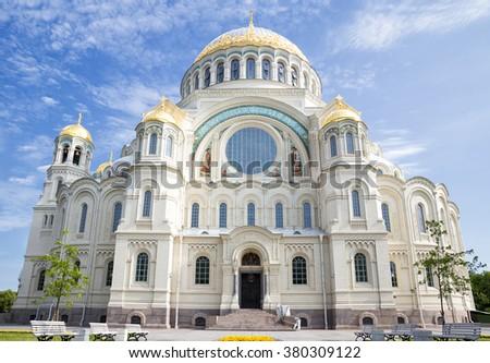 Naval cathedral of Saint Nicholas in Kronstadt, St.-Petersburg, Russia - stock photo