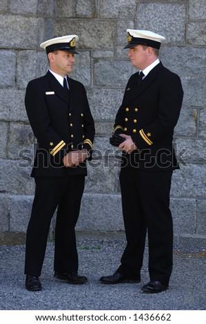 Naval Officer celebrating veteran's day - stock photo