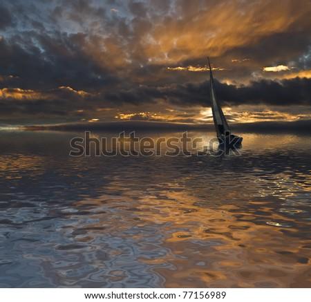navegando en el crepusculo - stock photo