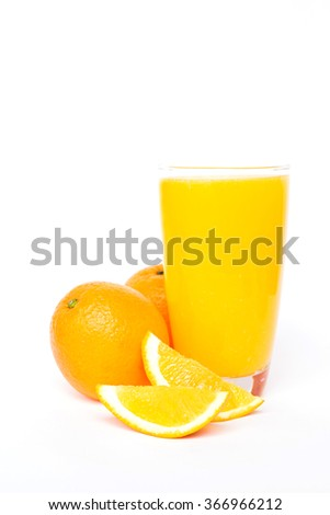 Navel orange juice and slices of orange isolated on white background  - stock photo