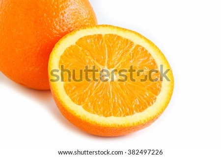Navel Orange on White Background