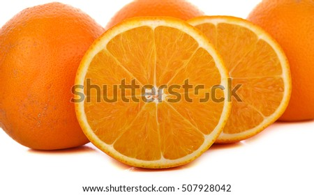 navel oranges on white background