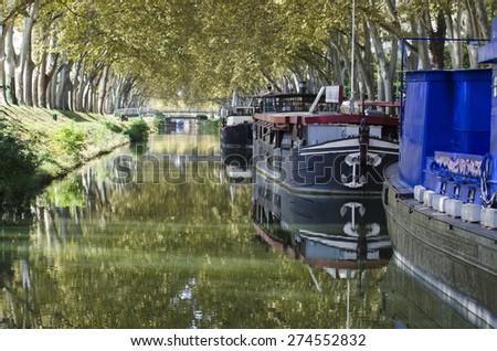 Navigable river in France - stock photo