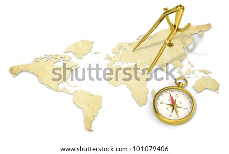 Navigate. A World Map in 3D. Paper Shape, thin and Antique style.  Brass Divider and Compass. - stock photo