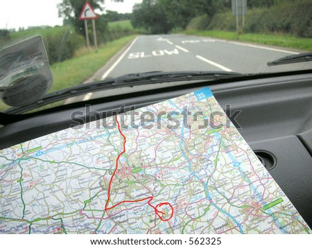 navigating the roads - stock photo