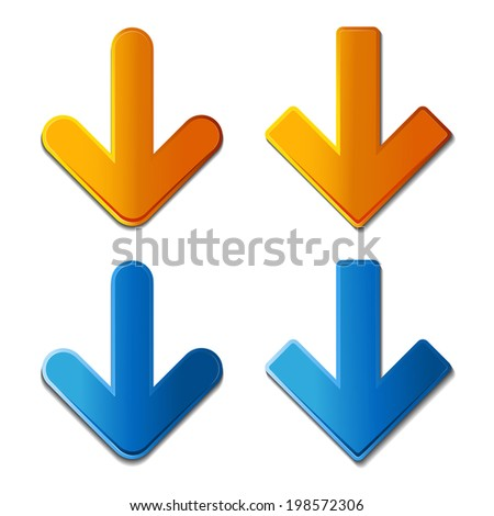 navigation arrow symbols, icon of here, more, next, download - stock photo