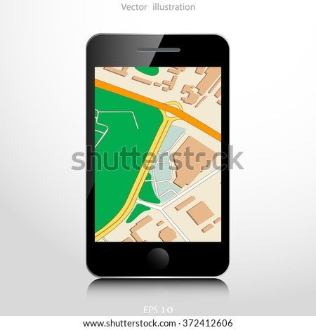 Navigation background with mobile device.
