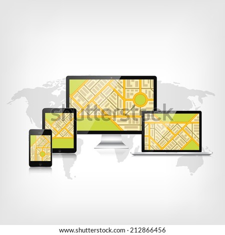 Navigation background with monitor, laptop, tablet, smartphone and map.Responsive web design. Adaptive user interface. - stock photo