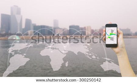 Navigation concept.map on smart phone. - stock photo