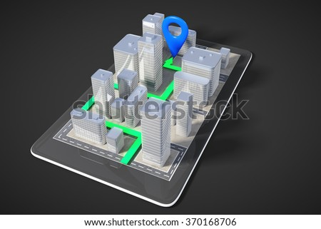 Navigation concept with 3D city buildings and paved route on cell phone 3D Render - stock photo