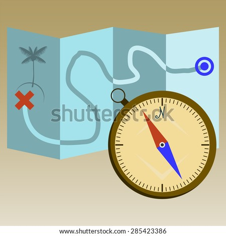 navigation concept with detailed  compass and  map - stock photo