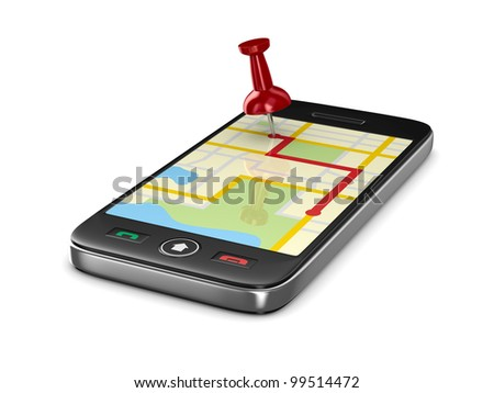 Navigation in phone. Isolated 3D image - stock photo