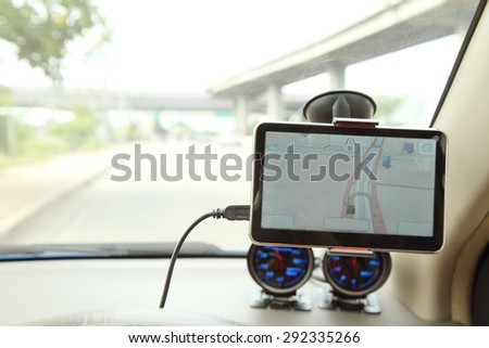 navigation in the car - stock photo