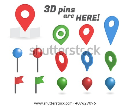 Navigation pins 3d isometric collection. Realistic pins and positioning flags isolated on white background - stock photo