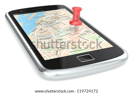 Navigation via Smart phone. Black Smartphone with a GPS map. Red Pushpin.