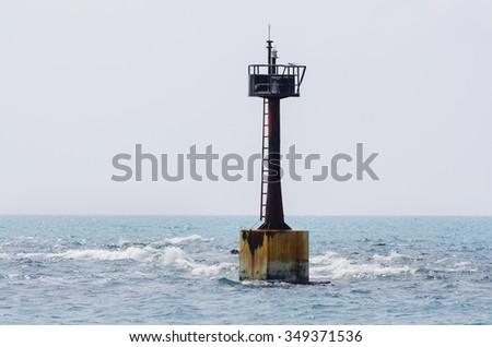 Navigational buoy at sea ,Samed Thailand. - stock photo